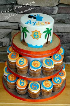 RIO Cupcake Tower. Buttercream cake, hand cut out details from fondant/gumpaste. Completely edible. Creativecakedesignsnc@gmail.com