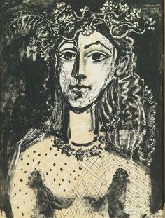 chloefrancillon:  PICASSO : JEUNE FILLE INSPIRÉE PAR CRANACHLithograph, 1949