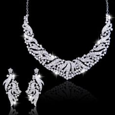 Art Deco Style Swarovski Crystal Jewelry Set Bridal by Annamall, $29.99 a bit more classic