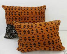 Superb African Mud cloth Bogolan bambara bogolanfini Pillow Mali, Pair