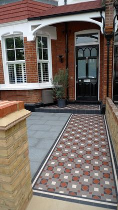Victorian mosaic tile path granite paving York stone bespoke bike store granite paving metal wrought iron rail topiary hedge Wimbledon London Contact anewgarden for more information Victorian Front Garden, Victorian Front Doors, Victorian Terrace, Victorian Design, Front Path, Front Door Steps, Exterior Tiles, Exterior Front Doors, House With Porch