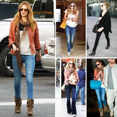In Love With . . .  Rosie Huntington-Whiteley's Slouchy Suede Booties  We all have favorite pieces in our wardrobe, and to this point, Rosie Huntington-Whiteley would definitely agree. We've spotted the model actress in a rotating collection of low, slouchy, neutral booties that amp up her casual daytime skinny jeans and leather jacket pairings. It's pretty clear that her bohemian, laid-back style has been given a boost of cool with help from her chic Isabel Marant, Zadig