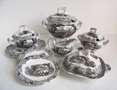 Antique Staffordshire CHILDS DINNER SET Black Transferware SCENE TOY MINIATURE