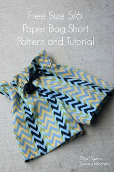 Paper Bag Shorts PDF Pattern and Tutorial : Free Size – Once Upon a Sewing Machine Sewing Patterns For Kids, Sewing For Kids, Baby Sewing, Free Sewing, Sewing Shorts, Sewing Clothes, Skirt Sewing, Sewing Coat, Doll Clothes