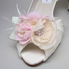 Ivory Wedding Shoes -- Ivory Satin Kitten Heels with Lace Overlay and Ivory and Pink Flower Adornment.