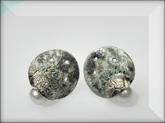 VESNAjewelryART by Vesna Kolobaric - sterling silver stud earrings with hot enamel and pearl