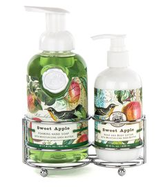A silver-toned caddy holding our popular foaming hand soap and rich hand lotion together in one place, whether that is in the bath or the kitchen. Very elegant, very convenient. Foamer: 17.8 fl. oz. /530 ml liquid. Lotion: 8 fl. oz. /236 ml liquid.