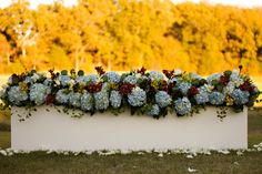 White boxes filled with blue hydrangea create an elegant aisle border for this autumnal wedding.