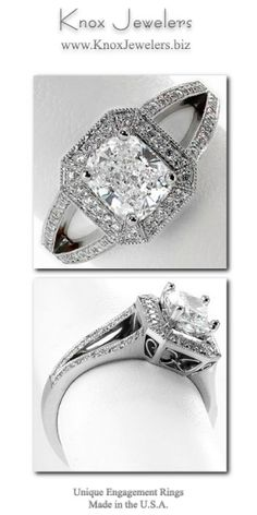 The luxurious square shaped halo with clipped corners of this engagement ring is intricately fashioned with micro pavé diamonds. A reverse taper of the band curves into a split shank to the side of the halo. The hand-formed platinum filigree adds a decorative statement to this contemporary cushion cut design. T