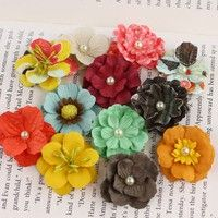 Doodle Deux Perle Bebe Paper Flowers By Prima Marketing      12 pieces per pack. approx 1.25 inch