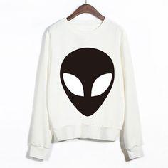 5c32f1b3b3abe New Design Funny Alien Series Printed Sweatshirts Harajuku Punk Style White  Feminine Sudaderas Women Cute Youth Brand Pullovers