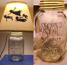 Peter Pan Silhouette Mason Jar Lamp by PracPerfCrafts on Etsy Adorable Peter Pan lamp from Practically Perfect Crafts on etsy. Disney Diy, Deco Disney, Disney Home Decor, Disney Crafts, Diy Disney Decorations, Disney Lamp, Wall Decorations, Peter Pan Silhouette, Silhouette Cameo
