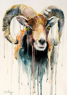 Original Aquarell Malerei  Ram Ziege Tier Illustration