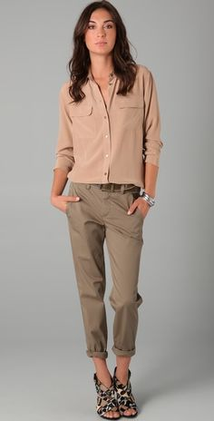 """Love the relaxed vibe. I'd choose a different color for the top so it has less of a """"camp ranger"""" vibe."""
