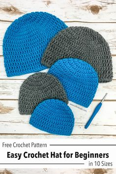 Double Crochet Hat in 10 Sizes - Free Pattern for Beginners Use this free crochet pattern to make an easy and fast double crochet (DC) hat in 10 different sizes. This pattern is written in multiple sizes for premie, baby, toddlers, childre Crochet Toddler Hat, Crochet Baby Hats Free Pattern, Beanie Pattern Free, Crochet Adult Hat, Bonnet Crochet, Double Crochet Beanie Pattern, Crocheted Baby Hats, Crochet Baby Cap, Childrens Crochet Hats