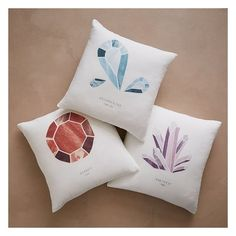 """West Elm Digital Print Gemstone Pillow Cover, White Linen, 18""""x18"""" ($21) ❤ liked on Polyvore featuring home, home decor, throw pillows, white throw pillows, white home accessories, white accent pillows, white home decor and white linen throw pillows"""