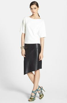 Robbi & Nikki Tee & Trouvé Leather Front Skirt  available at #Nordstrom