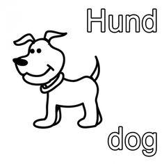 Englisch Lernen Ausmalbild Hund