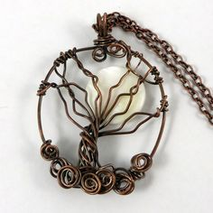 Winter Copper Tree of Life Necklace with Moon by HCJewelrybyRose on Etsy