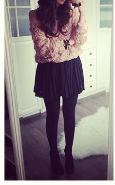 Mesh Lace Rose Long Sleeve Sweater, Black Skirt, Black Tights & Black Booties