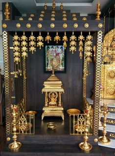 Pooja room Cocepts : Interior landscaping by Mantragoldcoatings Pooja Room Door Design, Home Room Design, Room Interior Design, Temple Room, Home Temple, Temple Design For Home, Diwali Decorations At Home, Silver Pooja Items, Mandir Design