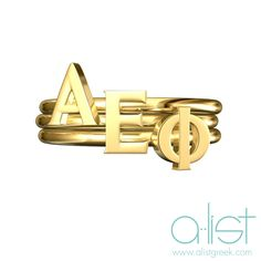 Alpha Epsilon Phi Stack Rings - Available in silver, gold and rose gold | Shop the latest sorority jewelry trends at www.alistgreek.com