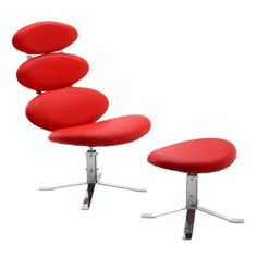 I pinned this 2 Piece Rachis Accent Chair and Ottoman Set in Red from the International Design event at Joss and Main!