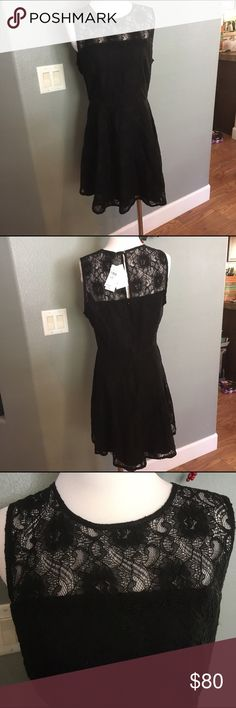 Banana Republic LBD Black dress with beautiful lace overlay Banana Republic Dresses Midi