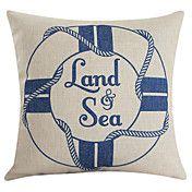 Nautical Life Buoy Sign Beige Cotton/Linen De... – USD $ 12.99