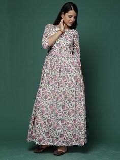 Off White Pink Block Printed Cotton Maxi Dress