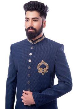 Blue Italian Zardosi Embroidered Indo Western Sherwani-IW1145 Indian Men Fashion, Mens Fashion Suits, Mens Suits, Sherwani For Men Wedding, Wedding Dress Men, Engagement Dress For Groom, Gents Kurta, Kurta Men, Indian Groom Wear