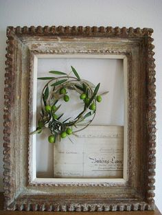 """olive wreath...nice way to """"frame"""" it...."""