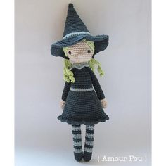 {This is an INSTANT DOWNLOAD PDF CROCHET PATTERN, NOT the finished doll. If you are looking for the finished doll, please contact me...}  This is Gretl, the witch. Unfortunately, her black mini Schnauzer dog destroyed her wand (Mean dog! That was not a stick to play with!), so she has