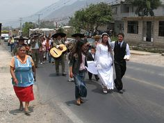 traditional Mexican wedding walk and a Quinceañera walk passing