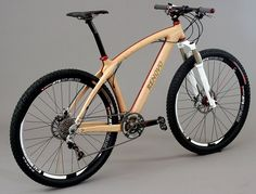 All wood mountain bike frame by Renovo in Sausalito. Mountain Bike Rims, 29er Mountain Bikes, Mountain Biking, Wooden Bicycle, Wood Bike, Cool Bicycles, Vintage Bicycles, Mtb Bike, Cycling Bikes