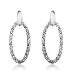 1.8 Inch Dangling Oval Wedding Earring Clear Swarovski Crystal 18K White GP Arinna. $13.98