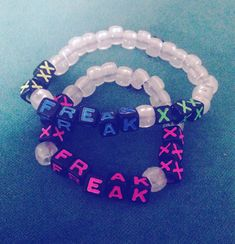 "His and hers ""freak"" kandi bracelets ✔️ Heyy"