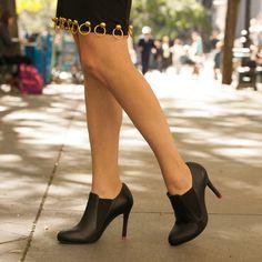 Black Leather Elastic Booties Work Heels Shoes Office Outfit Wear Comfortab