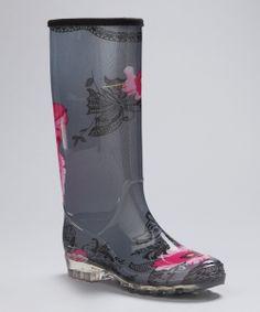 Gray Flower Rain Boot