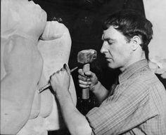 Henry Moore works in his Studio c. 1928
