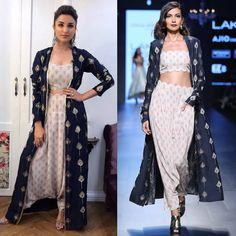 Parineeti Chopra in Payal Singal's Navy Blue Feather Motifs Jacket, Bustier and Pants Set.  #getthelook #parineetchopra #payalsinghal #contemporarywear #celebcloset #celebstyle #indiandesigners #indianfashion #shopnow #perniaspopupshop #happyshopping
