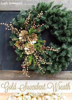 Gold Succulent DIY Holiday Wreath