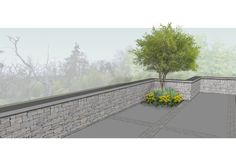 Detail visual illustrating a  planted corner with specimen tree with natural #stone wall on a #granite #raised #patio. Garden project in #Rathfarnham, Dublin, Ireland. www.owenchubblandscapers.com Garden Landscape Design, Landscaping Design, Garden Landscaping, Raised Patio, Specimen Trees, Dublin Ireland, Garden Projects, Granite, Corner