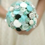 something blue button bouquet