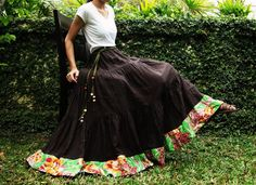 NO.25 Dark Brown Cotton, Hippie Gypsy Boho Tiered Long Peasant Skirt