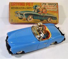 TIN FRICTION 1954 KAISER DARRIN CAR W DRIVER AND DOG ORIGINAL BOX ICHIKO JAPAN #IchikoKanto