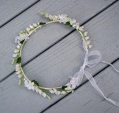 Baby floral headband Lily of the Valley flower crown Bridal white hair wreath flower girl Halo silk wedding flowers accessories ribbon ties Flower Girl Halo, Flower Crown, Bridal Flowers, Silk Flowers, Valley Flowers, Hair Wreaths, Floral Headbands, Crown Hairstyles, First Communion