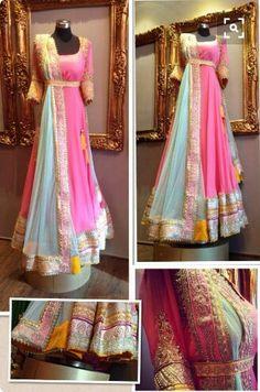Pink and blue bridal anarkali....!!!