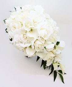 Items similar to Cascade Bridal Bouquet Featuring Real Touch Gardenia White Roses Calla Lilies - Cascading Tear Drop Bridal Bouquet on Etsy Cascading Bridal Bouquets, Cascade Bouquet, White Wedding Bouquets, Bride Bouquets, Flower Bouquet Wedding, White Rose Bouquet, Bridesmaid Bouquets, White Flowers, Church Wedding Flowers