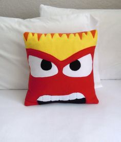 Anger Fleece Throw Pillow, Inside Out by PatternsOfWhimsy on Etsy Disney Throw Pillows, Etsy Christmas, Christmas Gifts, Fleece Projects, Bed Pillows, Plush Pillow, Cushions, Images Disney, Sewing Pillows